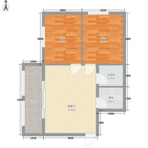 泛泰依山郡2室1厅1卫1厨73.00㎡户型图