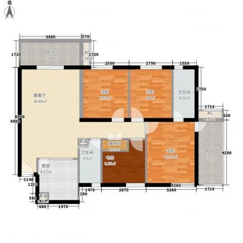 雅居园4室1厅2卫1厨133.00㎡户型图