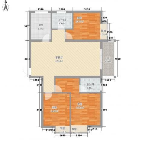 枫桥水岸3室1厅2卫1厨127.00㎡户型图