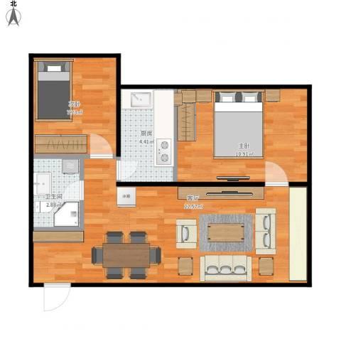 首开畅心园2室1厅1卫1厨65.00㎡户型图