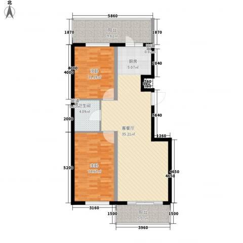 鸿盛春天2室1厅1卫0厨79.89㎡户型图