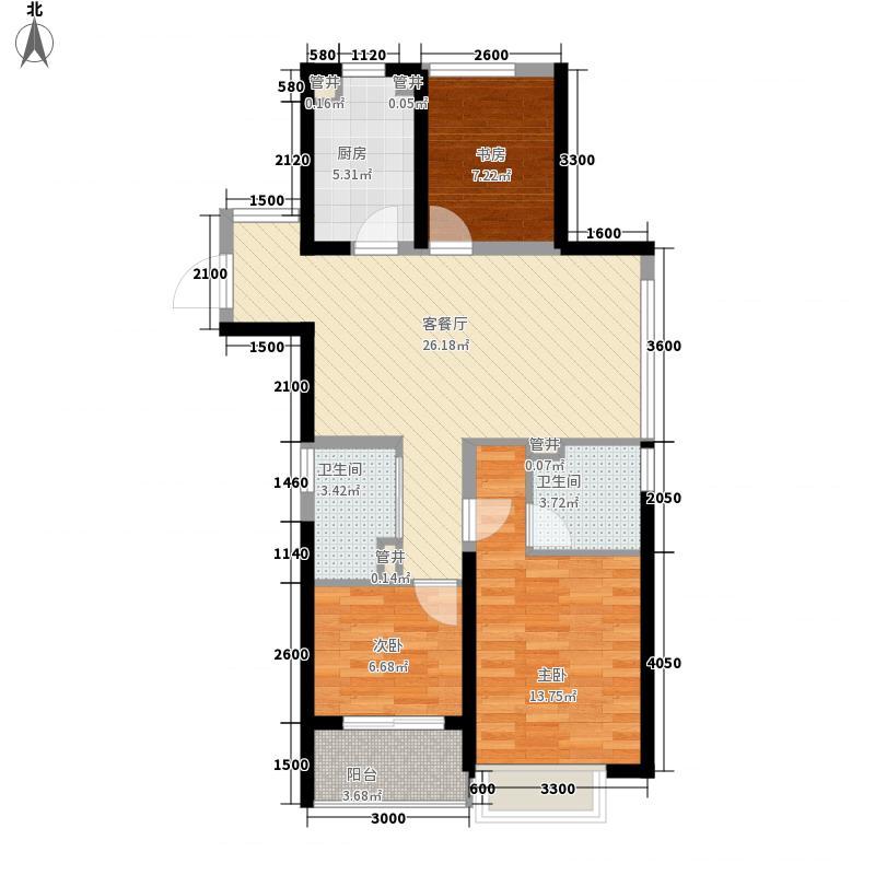 九洲绿城・翠湖香山7.70㎡高层A2户型3室2厅2卫1厨