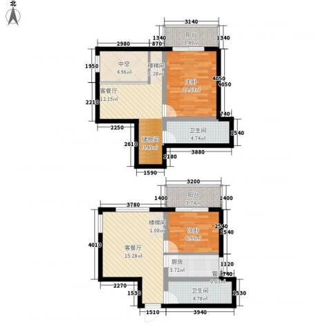 鸿盛春天2室2厅2卫1厨70.91㎡户型图