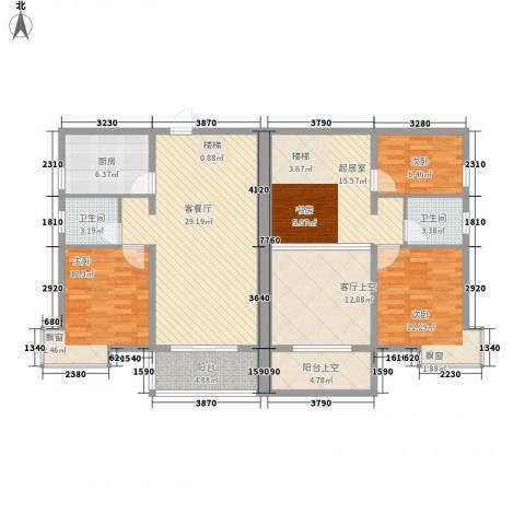 枫桥水岸3室1厅2卫1厨132.00㎡户型图