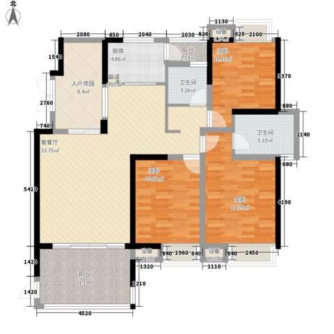 世纪城龙祺苑3室1厅2卫1厨154.00㎡户型图