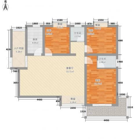 枫桥水岸3室1厅2卫1厨121.00㎡户型图