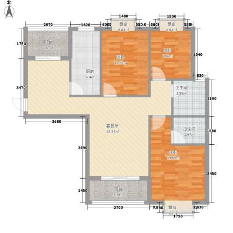 枫桥水岸3室1厅2卫1厨117.00㎡户型图