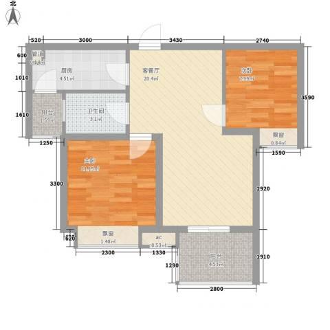 中海观园2室1厅1卫1厨78.00㎡户型图