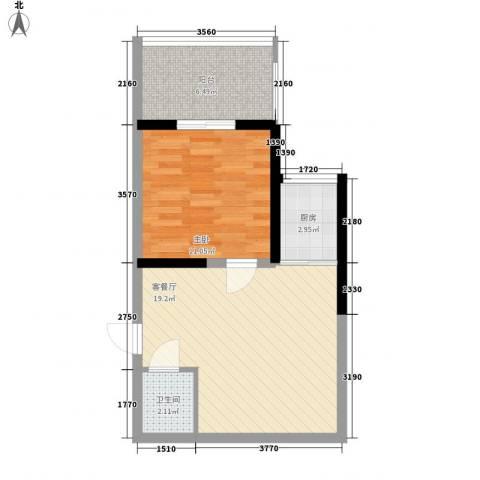 苏格兰风笛1室1厅1卫1厨59.00㎡户型图