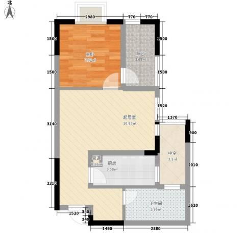 中御公馆1室0厅1卫1厨57.00㎡户型图