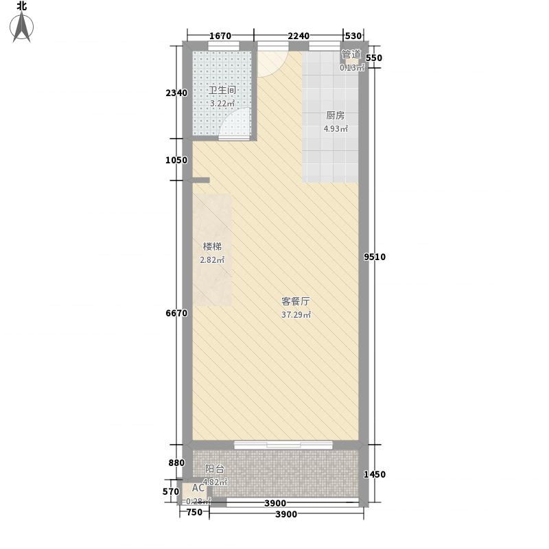 当代国际广场64.00㎡时尚办公loft3#楼下户型