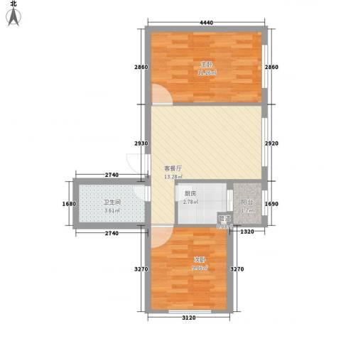 柏悦星城2室1厅1卫1厨60.00㎡户型图