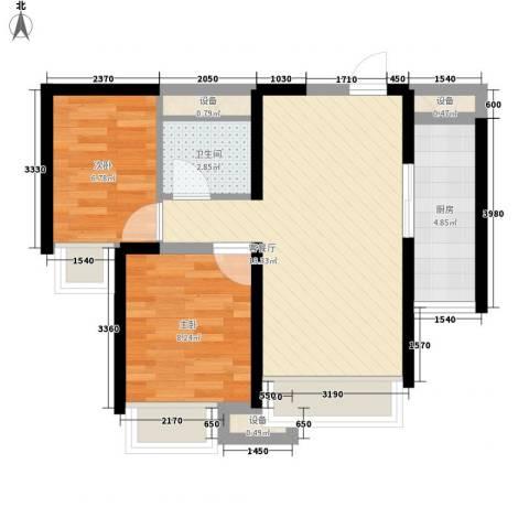 米兰雅居2室1厅1卫1厨65.00㎡户型图