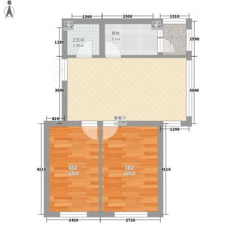 柏悦星城2室1厅1卫1厨59.00㎡户型图