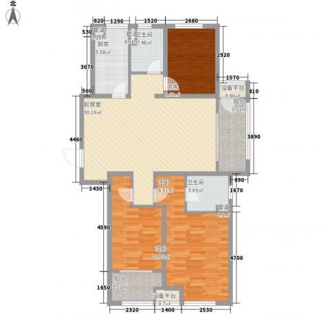 新城公馆3室0厅2卫1厨126.00㎡户型图
