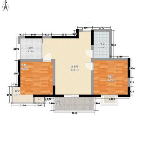 苏格兰风笛2室1厅1卫1厨88.00㎡户型图