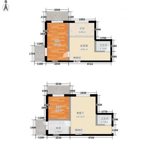 鸿盛春天2室1厅2卫1厨76.00㎡户型图
