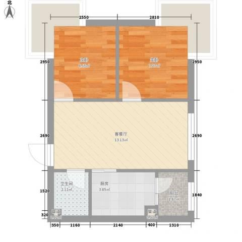 柏悦星城2室1厅1卫1厨50.00㎡户型图