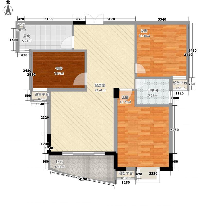 朗晴园121.23㎡一期多层2#楼L户型3室2厅1卫1厨