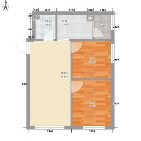 柏悦星城2室1厅1卫1厨55.00㎡户型图