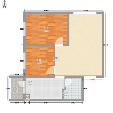 柏悦星城2室1厅1卫1厨62.60㎡户型图
