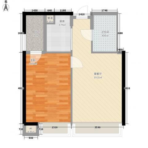 君悦黄金海岸1室1厅1卫1厨63.00㎡户型图