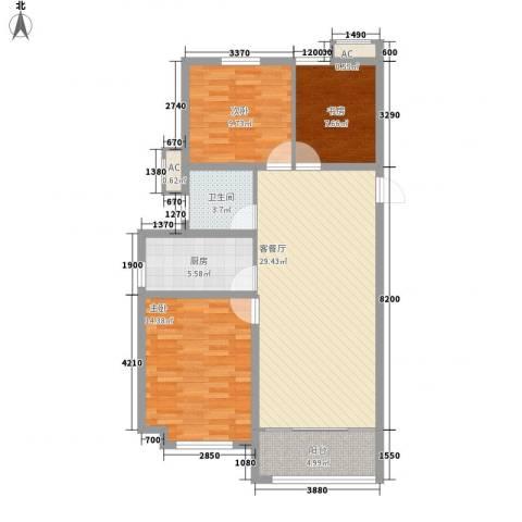 当代国际广场3室1厅1卫1厨109.00㎡户型图