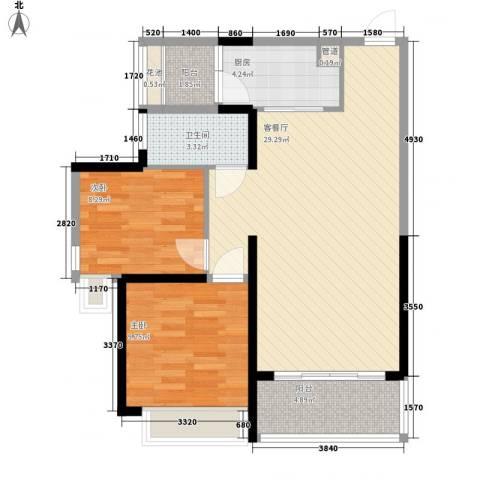 君悦黄金海岸2室1厅1卫1厨62.35㎡户型图