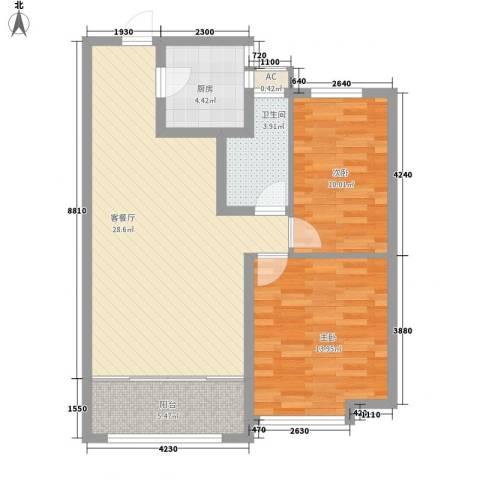 当代国际广场2室1厅1卫1厨95.00㎡户型图