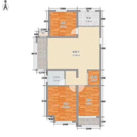 当代国际广场3室1厅1卫1厨120.00㎡户型图