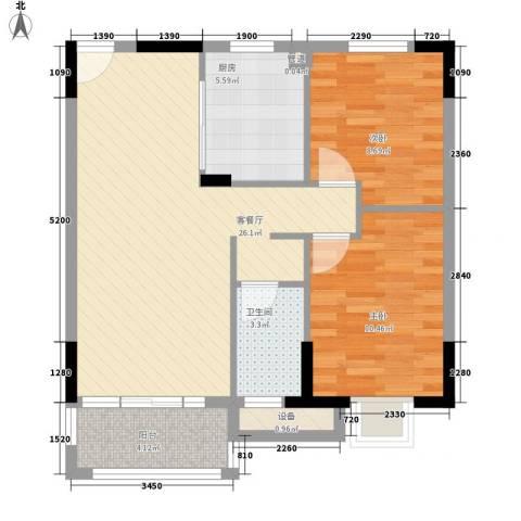 怡丰昌盛大厦2室1厅1卫1厨86.00㎡户型图