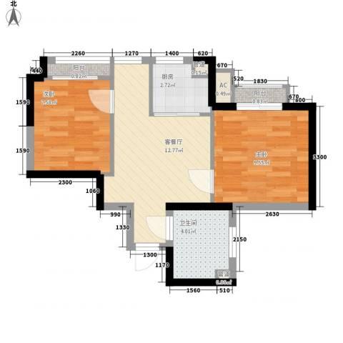 高山流水和城2室1厅1卫1厨58.00㎡户型图