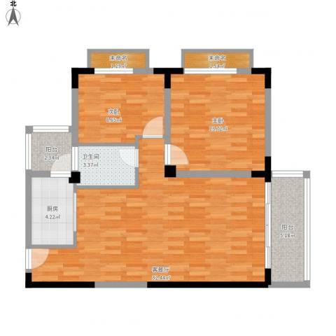 三亚印象2室1厅1卫1厨104.00㎡户型图
