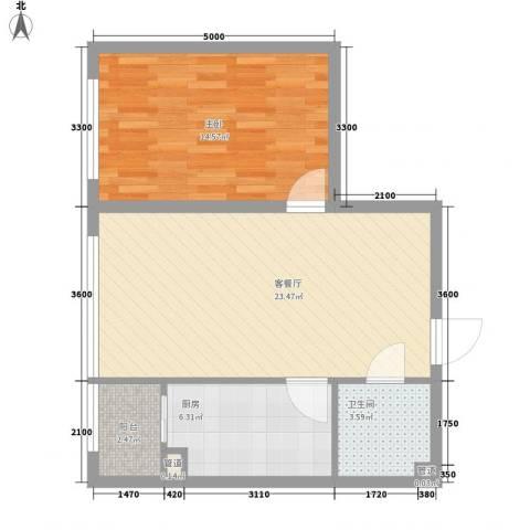 柏悦星城1室1厅1卫1厨50.57㎡户型图