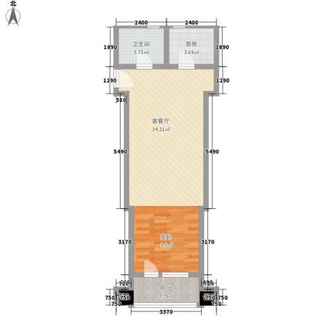 华发首府1厅1卫1厨65.00㎡户型图