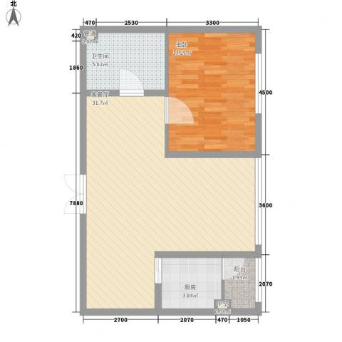 柏悦星城1室1厅1卫1厨56.51㎡户型图