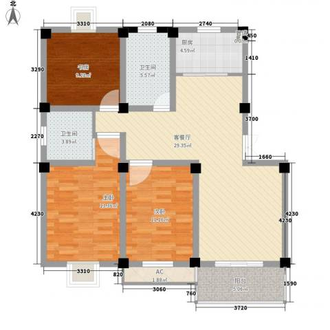 太湖明珠苑3室1厅2卫1厨123.00㎡户型图