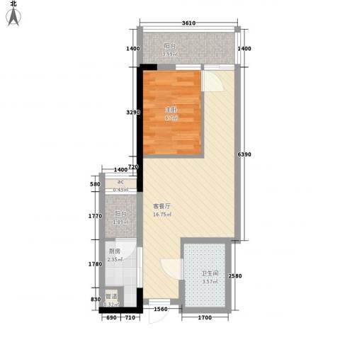 君悦黄金海岸1室1厅1卫1厨54.00㎡户型图