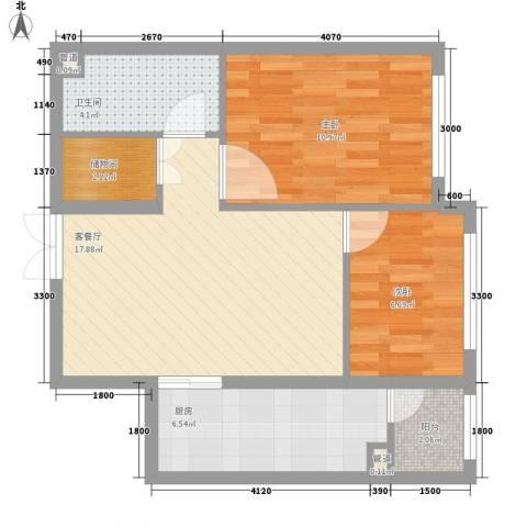 柏悦星城2室1厅1卫1厨50.57㎡户型图