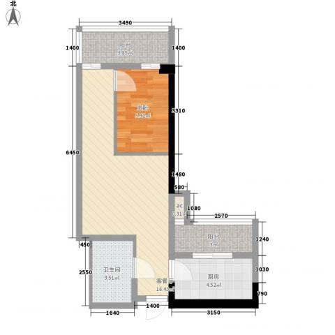 君悦黄金海岸1室1厅1卫1厨56.00㎡户型图