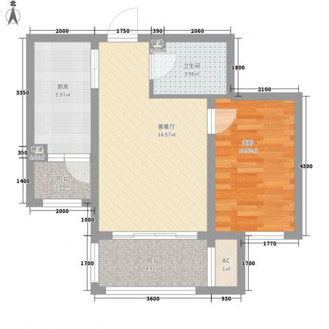 巴黎第五区1室1厅1卫1厨44.17㎡户型图