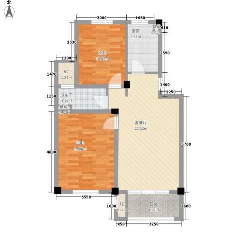 相郡2室1厅1卫1厨77.00㎡户型图