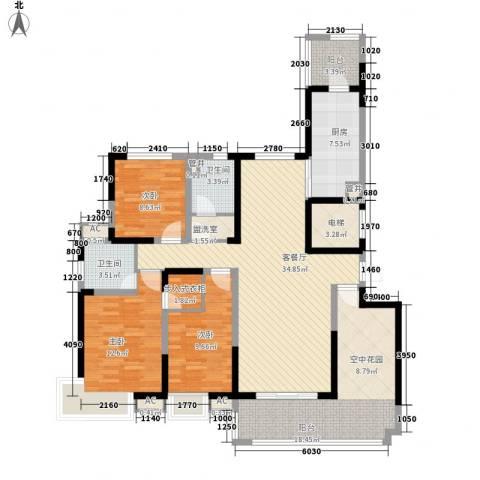 高速滨湖时代广场3室1厅2卫1厨161.00㎡户型图