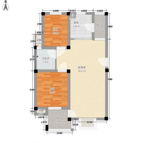 茉莉花园2室0厅1卫1厨66.00㎡户型图