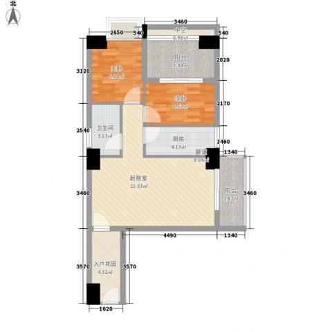 御峰国际2室0厅1卫1厨85.00㎡户型图