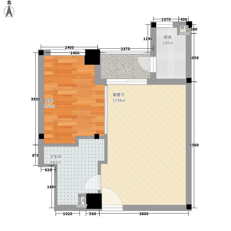 东辰瑞景户型图E-2罗曼地 1室1厅1卫1厨