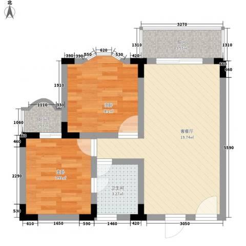 玫瑰花园2室1厅1卫0厨64.00㎡户型图