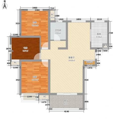 高速滨湖时代广场3室1厅1卫1厨121.00㎡户型图