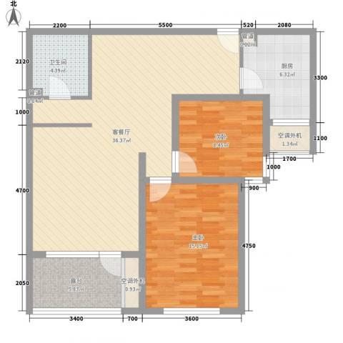 明天第一城8号院2室1厅1卫1厨113.00㎡户型图