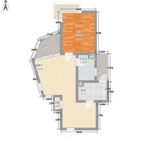万宝威尼斯蓝湾1室1厅1卫1厨60.38㎡户型图